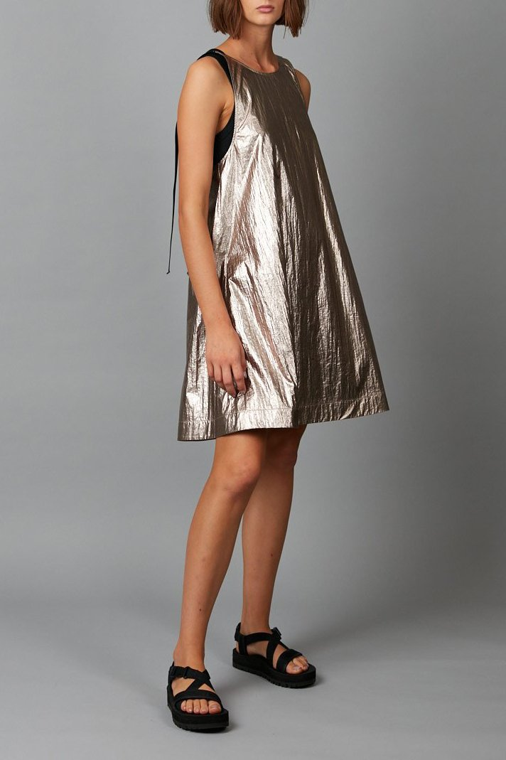 ROSE BRONZE METALLIC NINO MINI DRESS