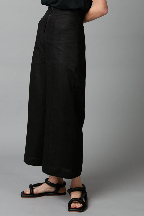 BLACK UTILITY ZIP-FRONT LINEN PANT - Nique Clothing