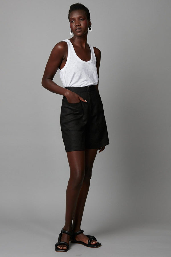 BLACK UTILITY ZIP-FRONT SHORT