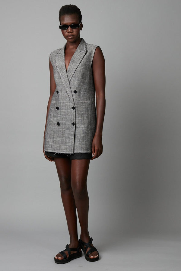 TAKAI LONGLINE SLEEVELESS BLAZER - Nique Clothing