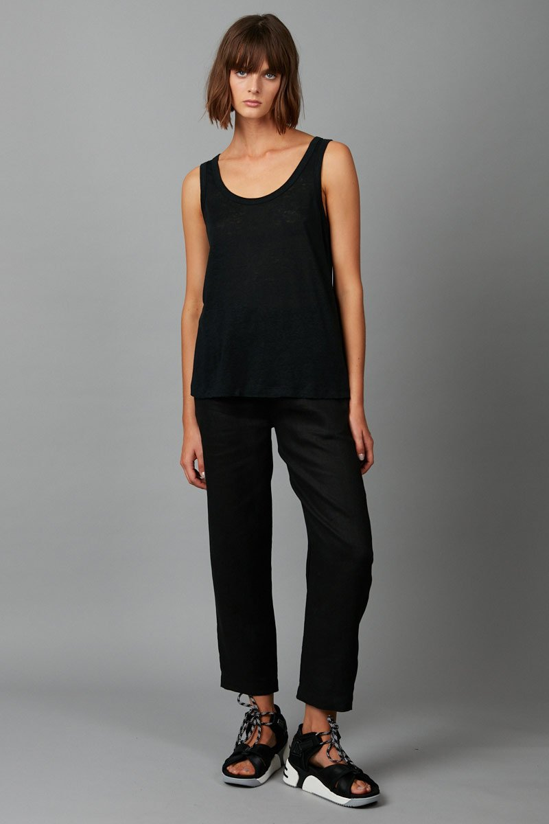 BLACK KYOTO LINEN SCOOP TANK - Nique Clothing