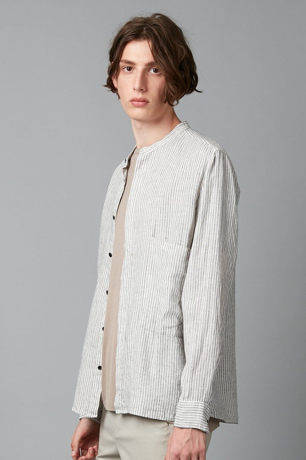 KISHO MANDARIN COLLAR LONG SLEEVE LINEN SHIRT - Nique Clothing