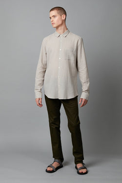 GREY MATSUKO COTTON SLIM LONG SLEEVE SHIRT