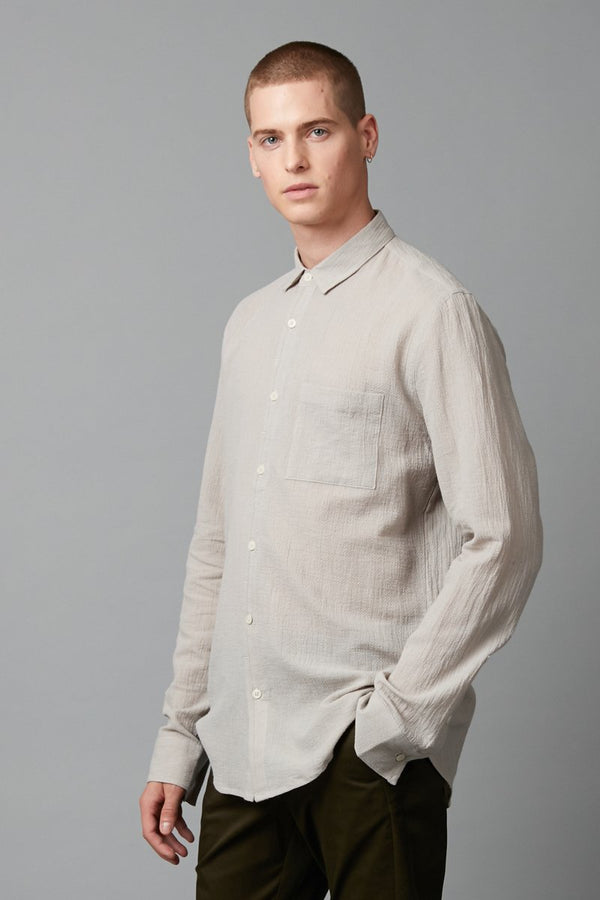 GREY MATSUKO COTTON SLIM LONG SLEEVE SHIRT - Nique Clothing