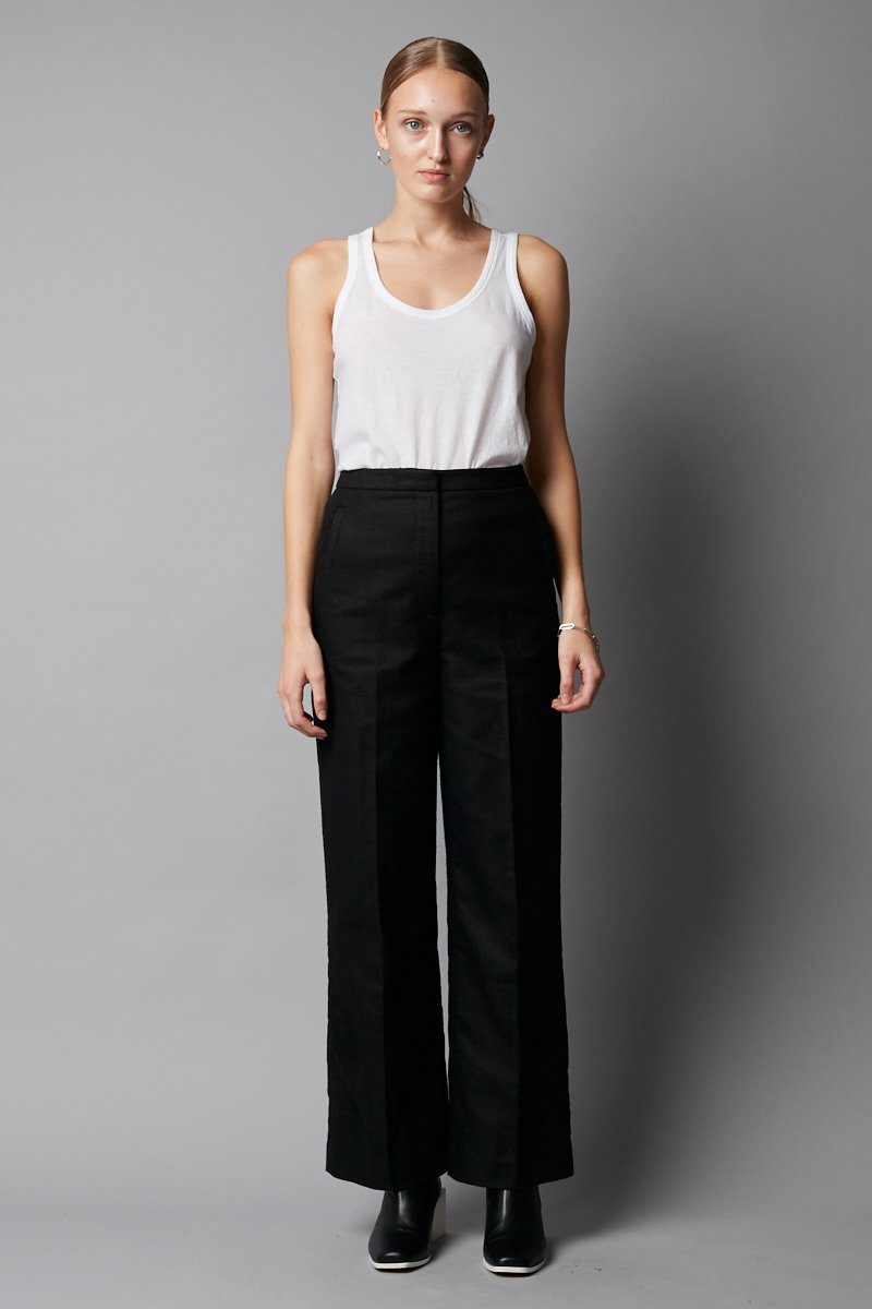 BLACK LINEN COTTON HADEKI PANTS