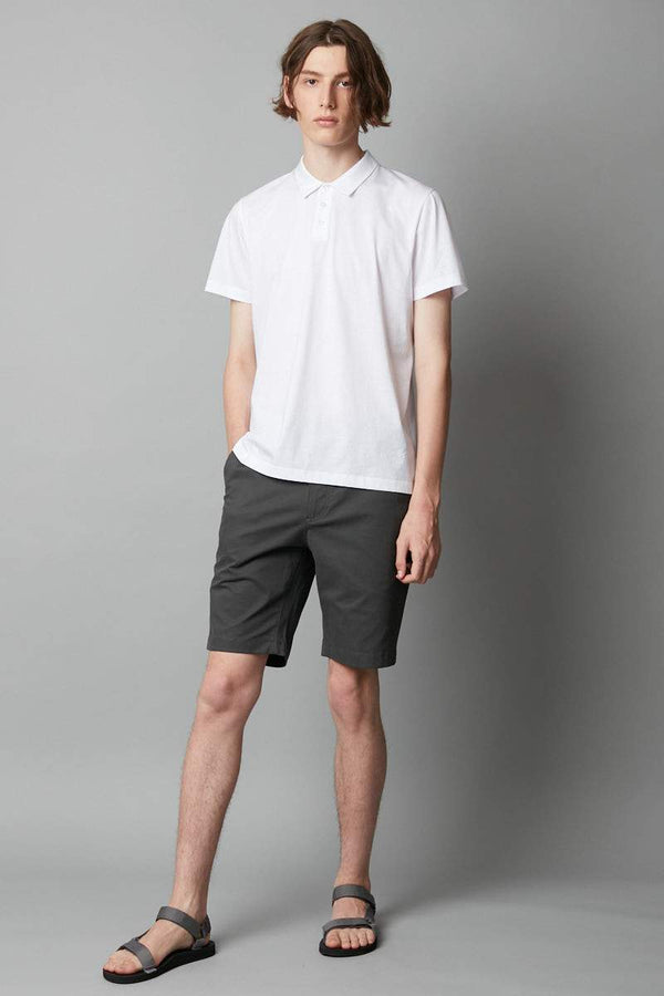 WHITE MERCERISED COTTON POLO - Nique Clothing
