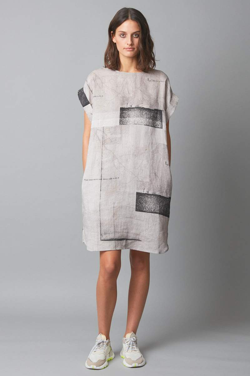 CEMENT HANAE ABSTRACT PRINT DRESS - Nique Clothing