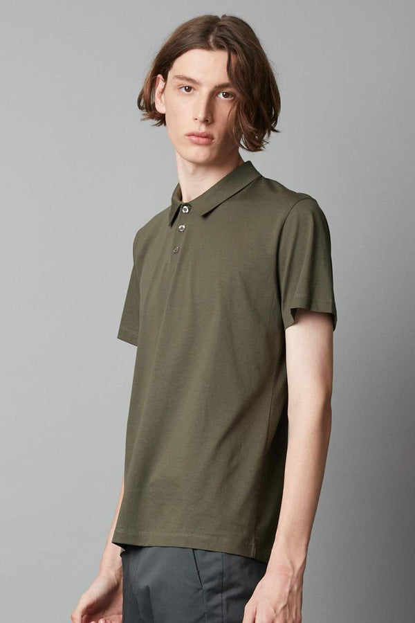 KHAKI MERCERISED COTTON POLO - Nique Clothing