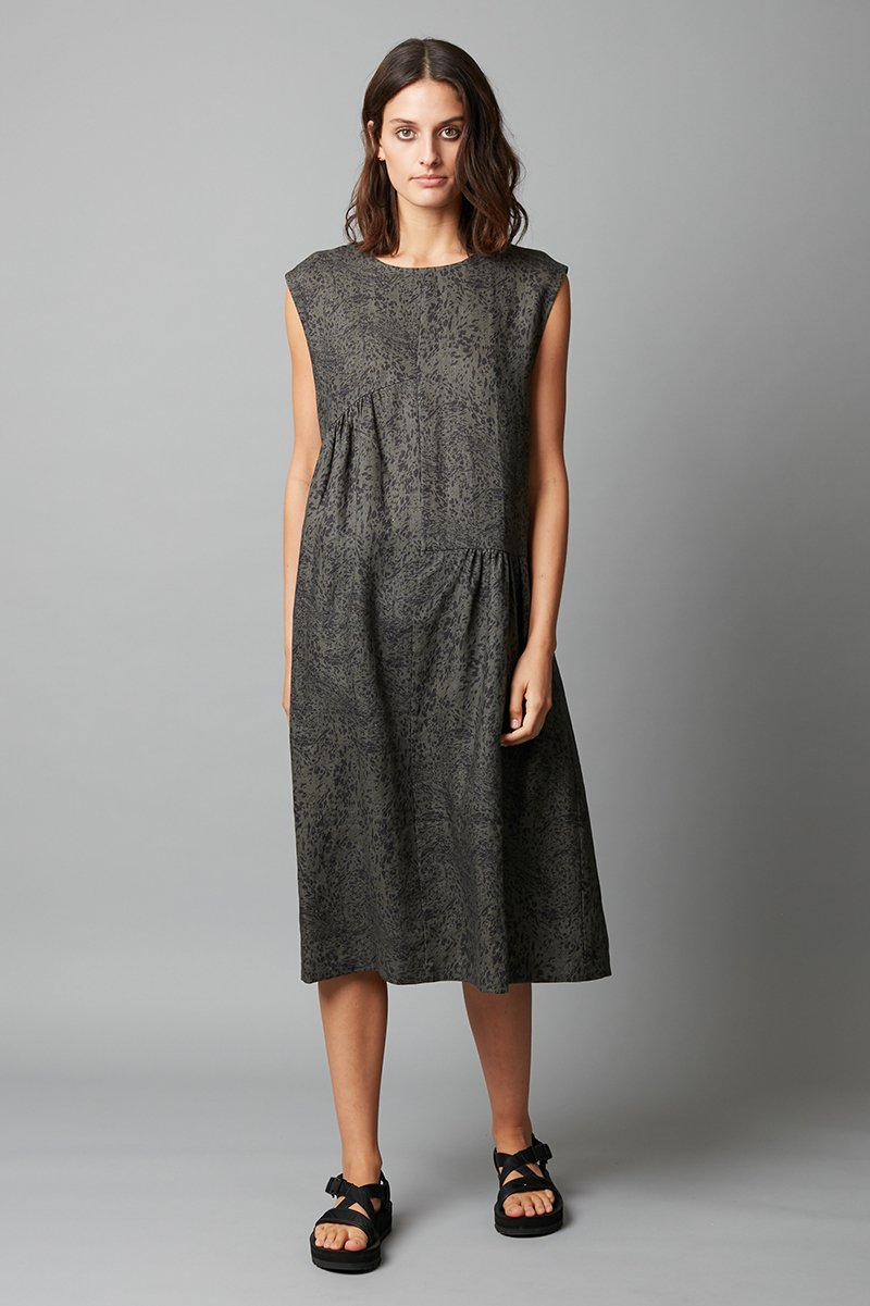TRANQUIL PRINT FUMITA LINEN DRESS