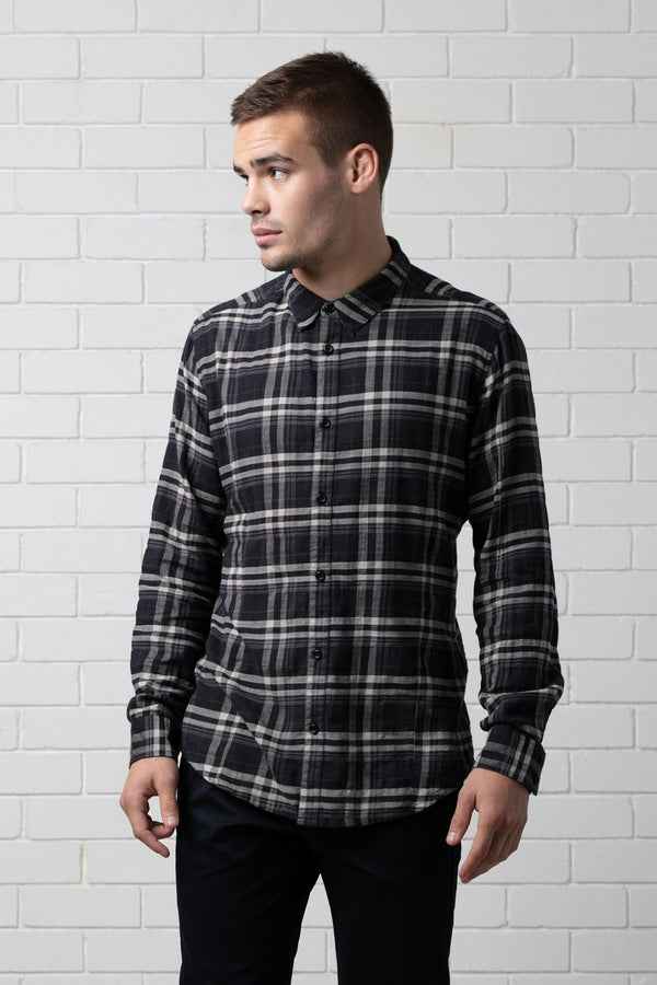 NOOR BLACK CHECK SHIRT