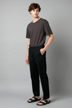 Black Okabe Cotton Pull on Pant