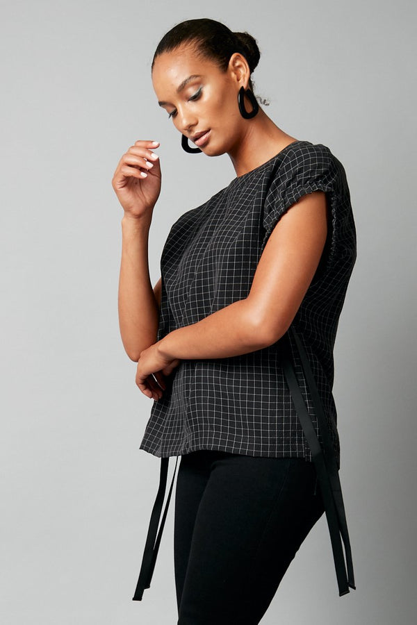 BLACK CHECK SHINO CUPRO TOP