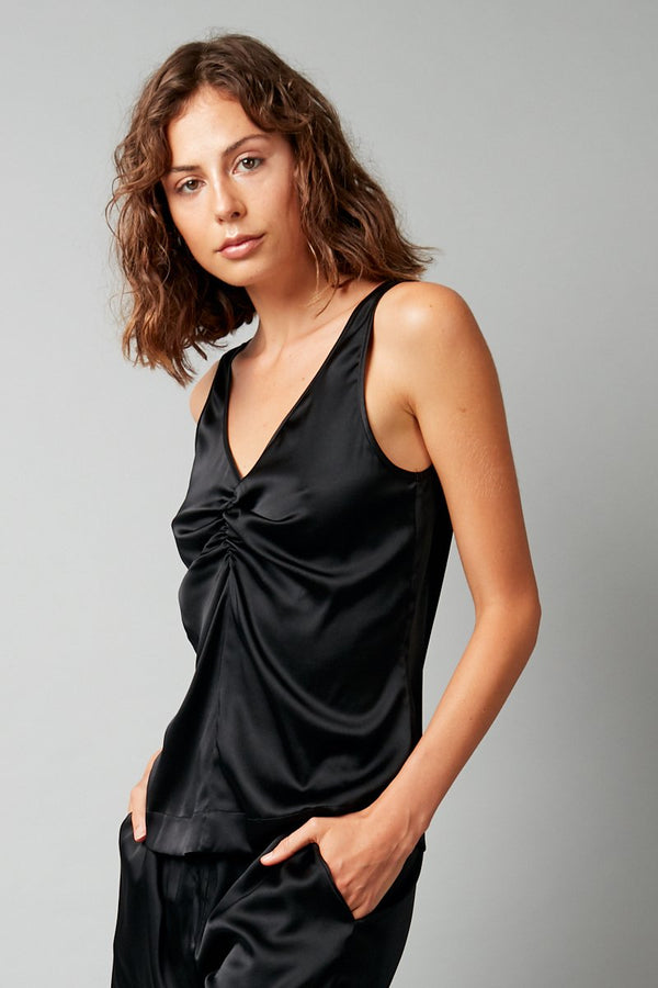 BLACK HIRAKI STRETCH-SILK TANK