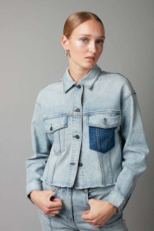 PALE BLUE NATSU CROPPED DENIM JACKET - Nique Clothing