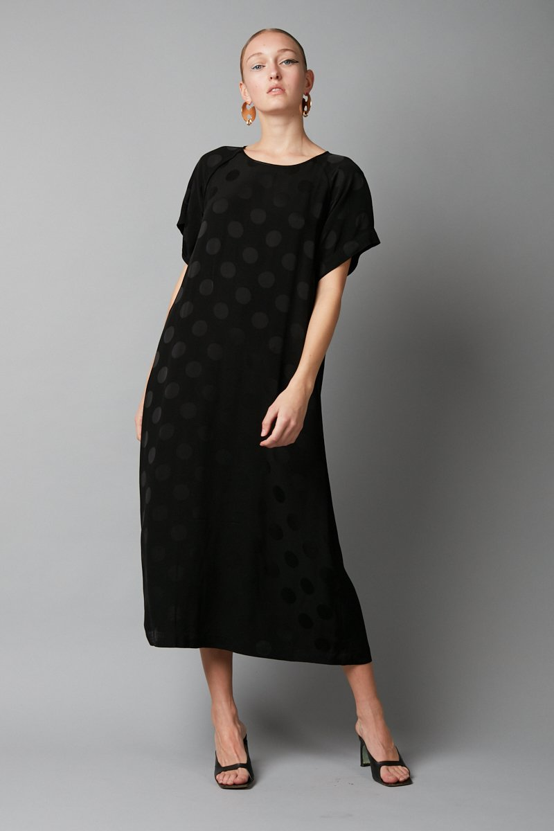 BLACK JACQUARD WAI DRESS