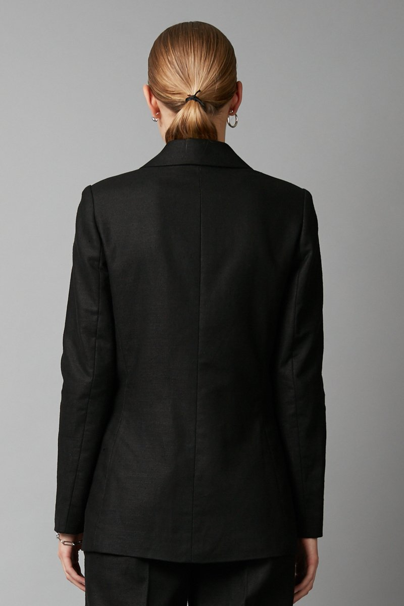 BLACK COTTON LINEN HADEKI JACKET - Nique Clothing