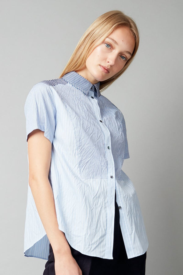 BLUE WHITE NAMO COTTON STRIPE SHIRT - Nique Clothing