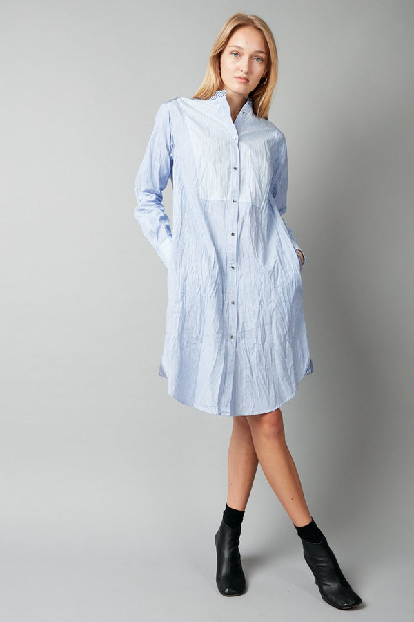 BLUE WHITE STRIPE NAMO COTTON SHIRTDRESS