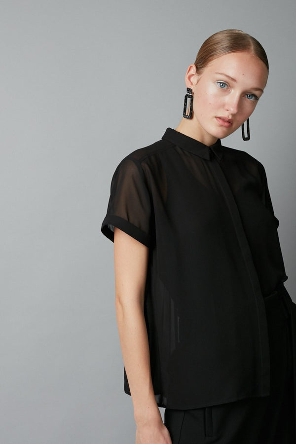 BLACK JINTO PLEAT BACK SHIRT - Nique Clothing