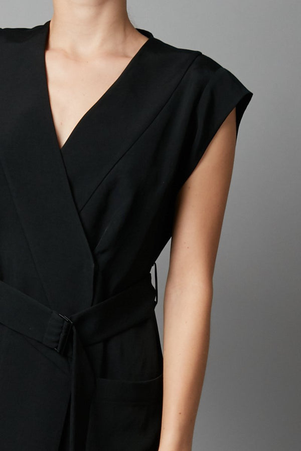 BLACK RUMO WRAP DRESS - Nique Clothing