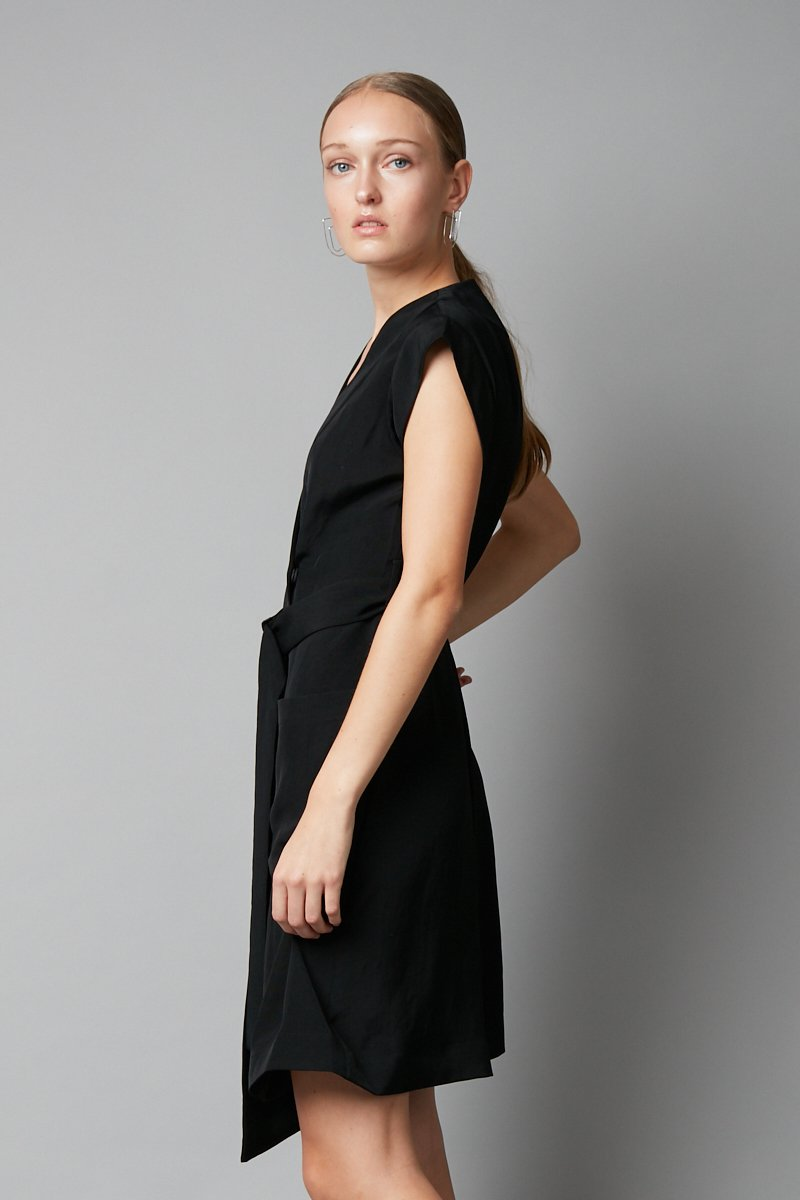 BLACK RUMO WRAP DRESS
