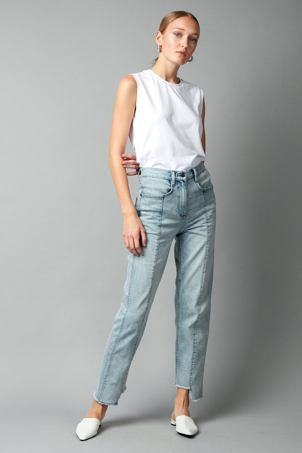 PALE BLUE BYOBU DENIM JEANS - Nique Clothing
