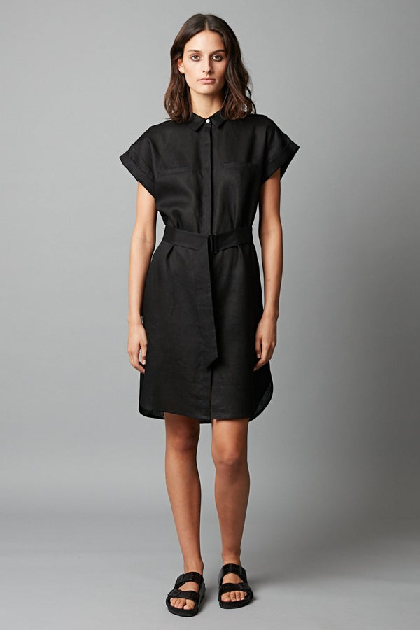 BLACK SADO LINEN DRESS - Nique Clothing