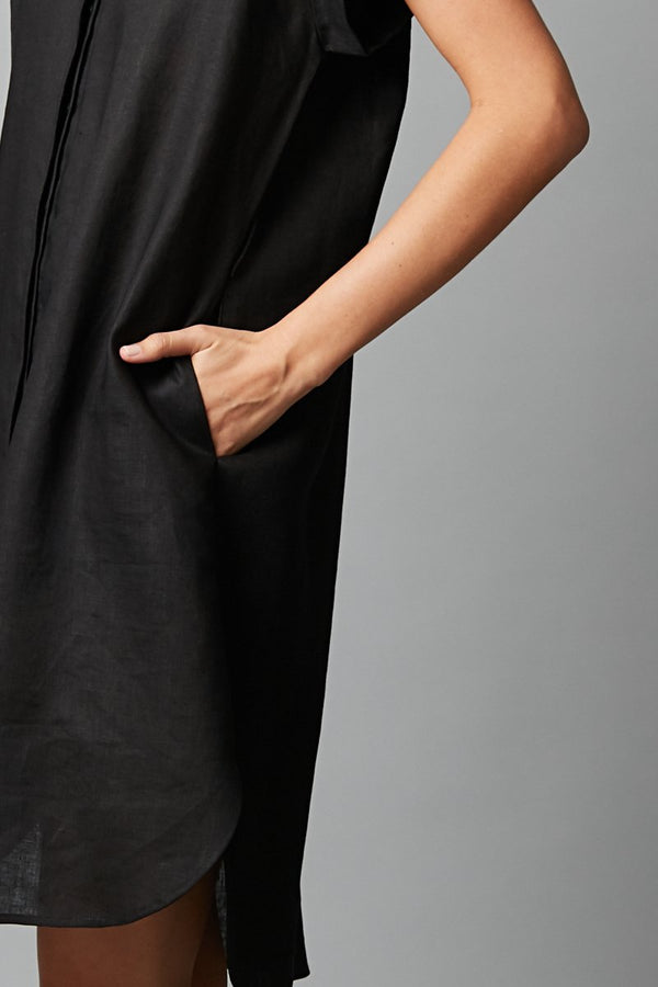 BLACK SADO LINEN DRESS