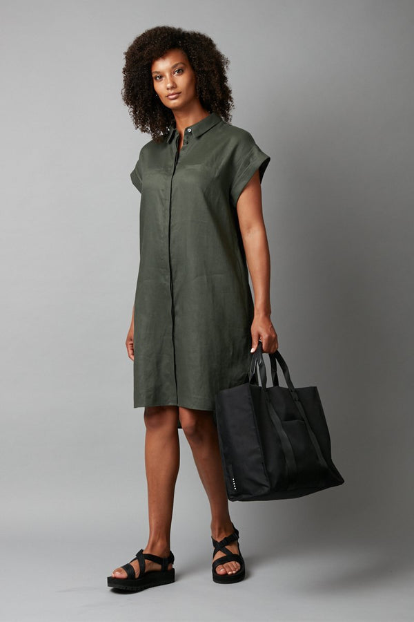 KHAKI SADO LINEN DRESS - Nique Clothing