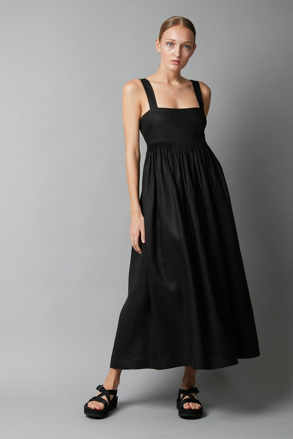 RESTOCKED - BLACK AIMIE LINEN DRESS