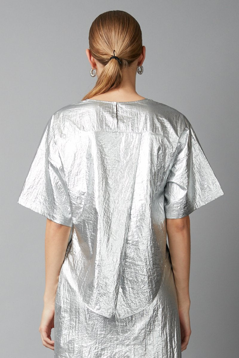 SILVER NYLON HELIUM TOP