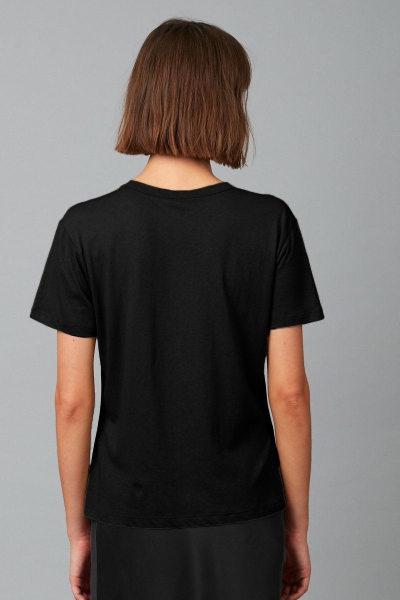 BLACK COTTON KAZOKO SHORT SLEEVE TEE