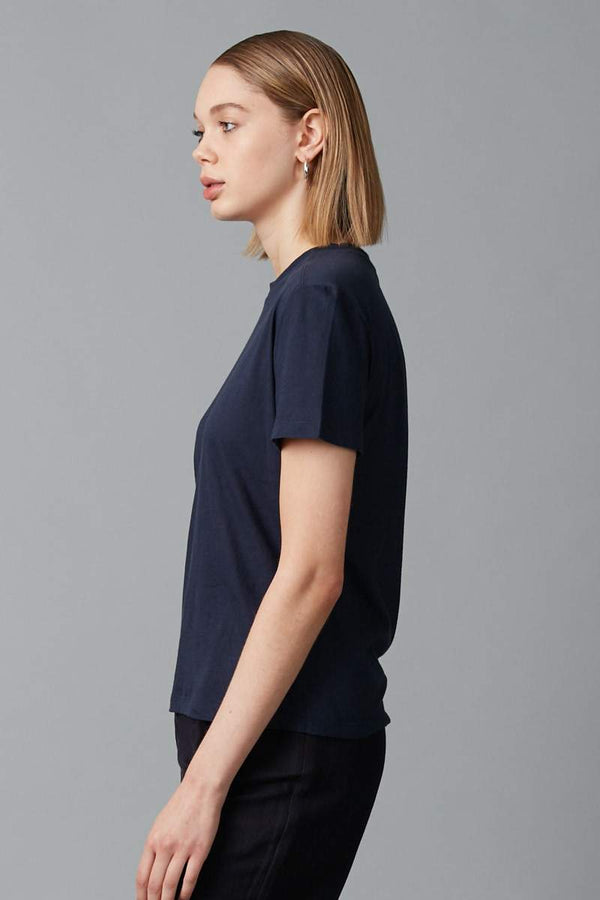 NAVY KAZOKO COTTON SHORT SLEEVE TEE