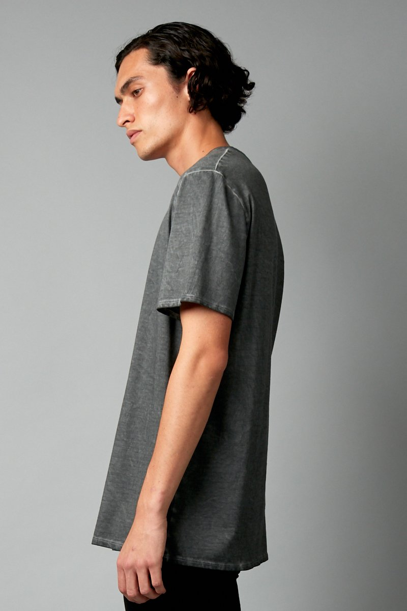 CHARCOAL WASH BAER UNISEX COTTON TEE