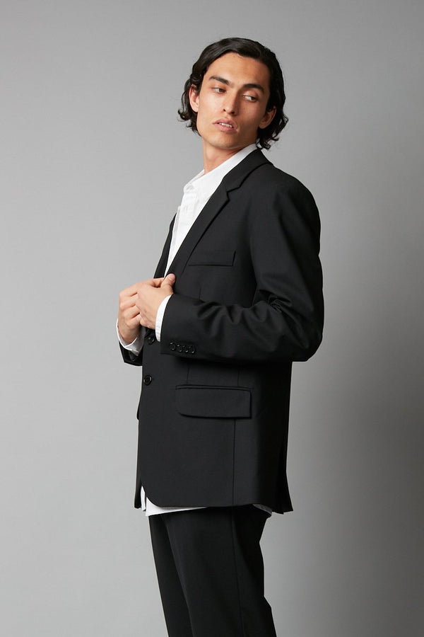 BLACK AMARI UNISEX WOOL SUIT JACKET