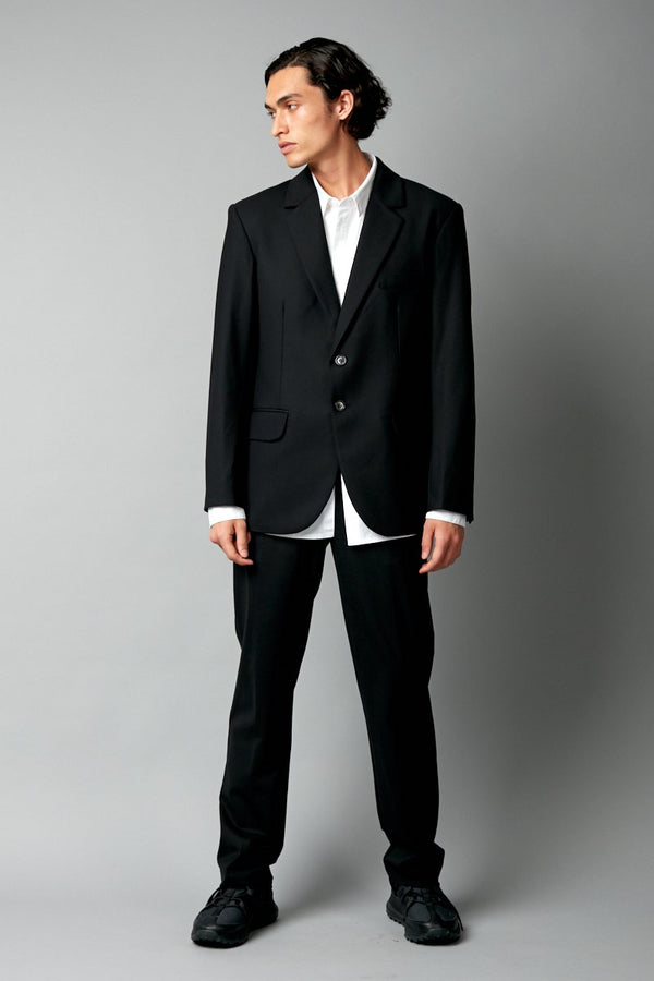 BLACK AMARI WOOL SUIT PANTS