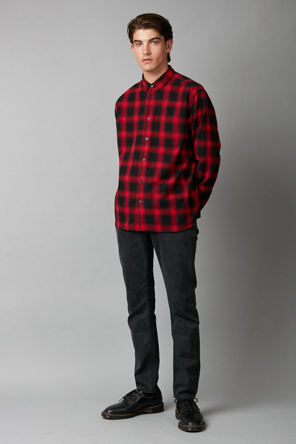 RED CHECK RINKO LONG SLEEVE SHIRT