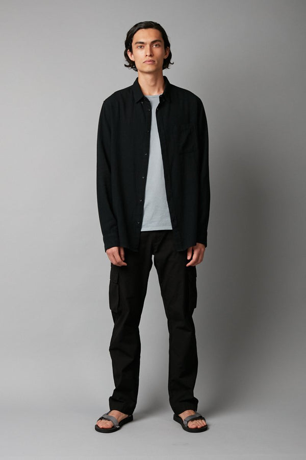 BLACK HIROSE SLIM LONG SLEEVE SHIRT