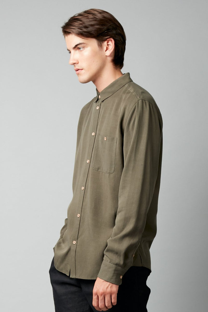 KHAKI SATOSHI REGULAR LYOCELL LINEN SHIRT - Nique Clothing