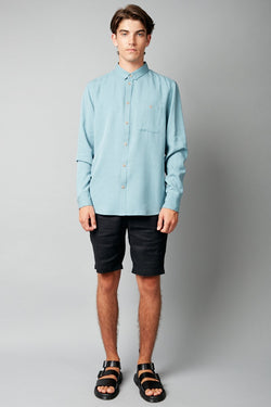 BLUE SATOSHI REGULAR LYOCELL SHIRT - Nique Clothing