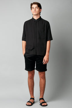 BLACK MUKAI TENCEL LINEN SHIRT - Nique Clothing