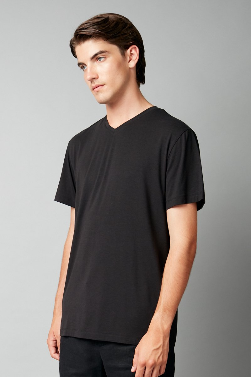 BLACK TAIT V NECK SHORT SLEEVE TEE - Nique Clothing