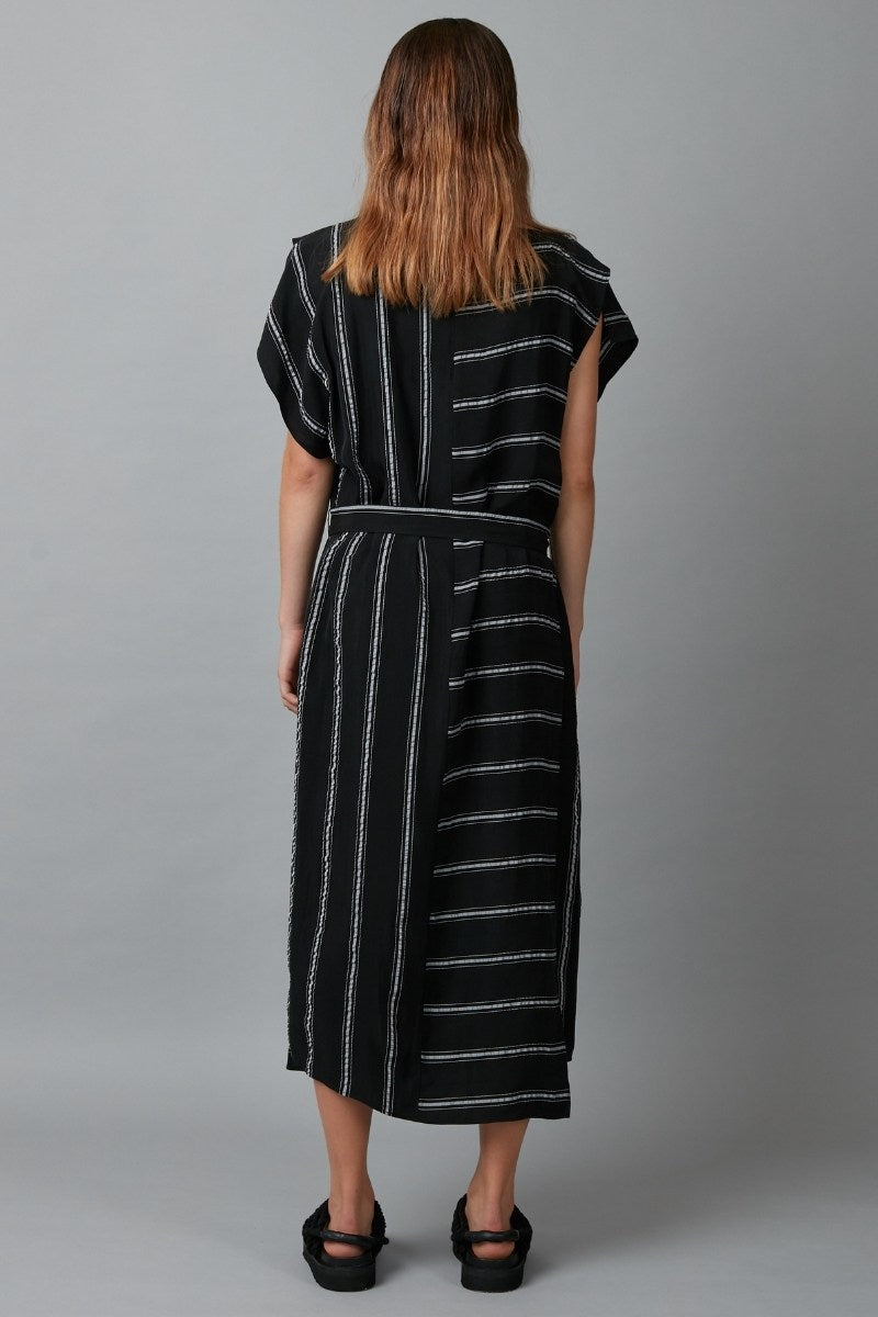 Black & White Stripe Keiko Drape Cupro Dress