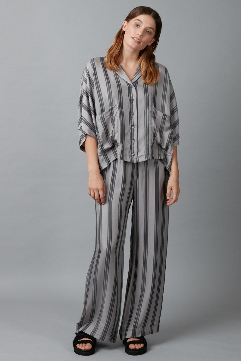 Ash Grey Stripe Sound Cupro Viscose Shirt