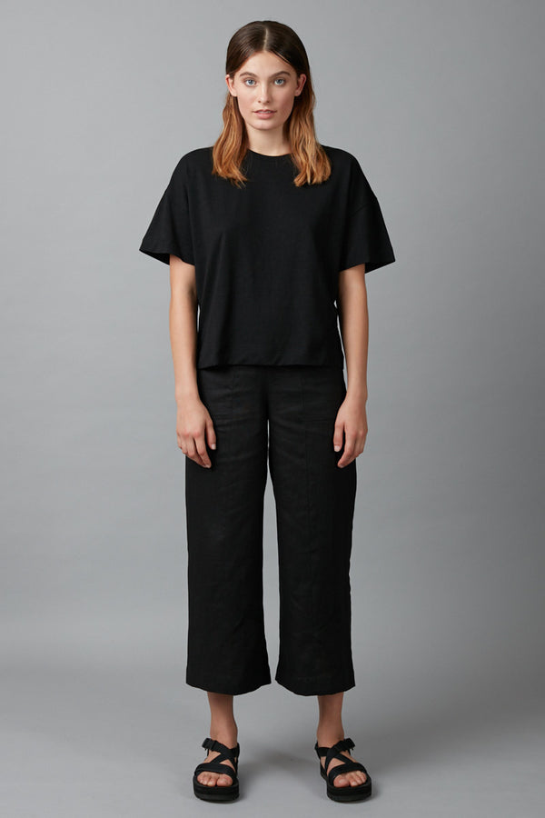 Black Joben Hemp Cotton Cropped Tee