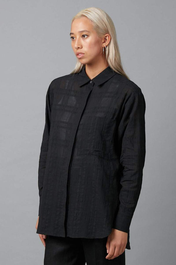 BLACK FUMI COTTON SHIRT - Nique Clothing