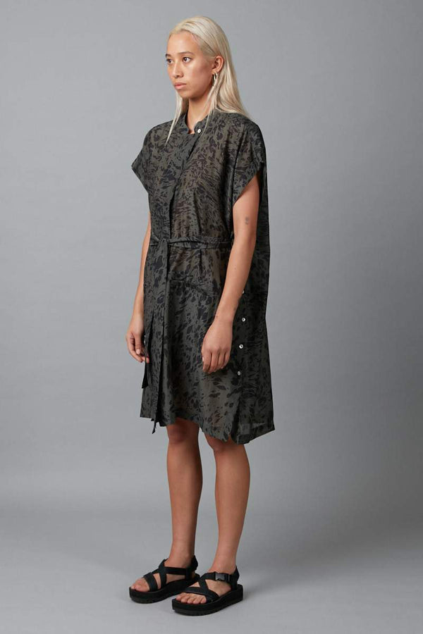 TRANQUIL PRINT JUDO SILK SHIRT DRESS