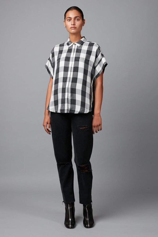 BLACK/WHITE CHECK  RAVEN SHIRT