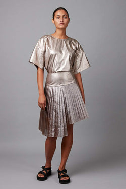 ROSE BRONZE FOLD MINI SKIRT