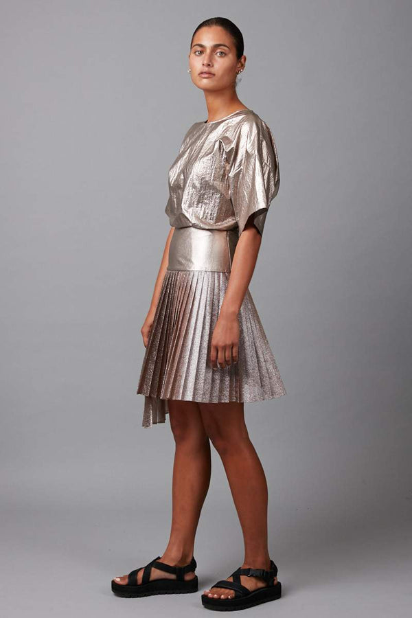 ROSE BRONZE METALLIC FOLD MINI SKIRT - Nique Clothing